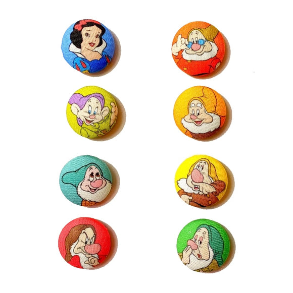 Snow White & The Seven Dwarfs Inspired Mix And Match Fabric Button Earrings