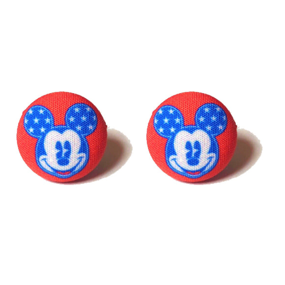 Red & Blue America Mickey Mouse Fabric Button Earrings