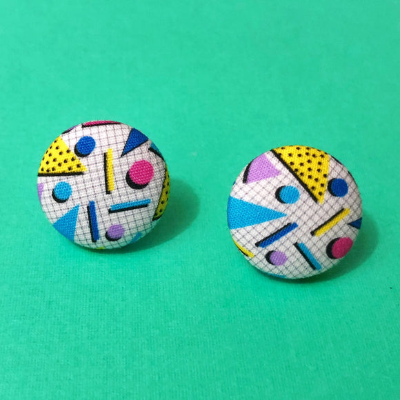 90s Print Saved by The Bell Geometric Fabric Button Earrings