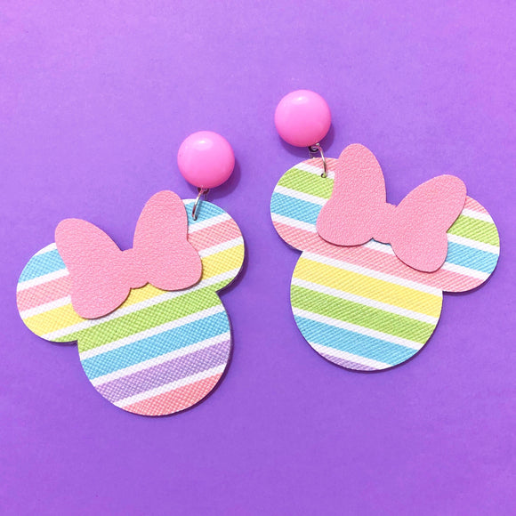Pastel Rainbow Minnie Mouse Drop Earrings