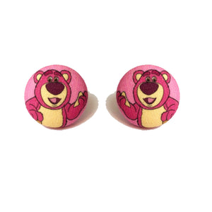 Lotso The Bear Toy Story Villain Inspired Fabric Button Earrings