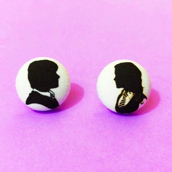 Ron & Hermoine Silhouette Harry Potter Fabric Button Earring