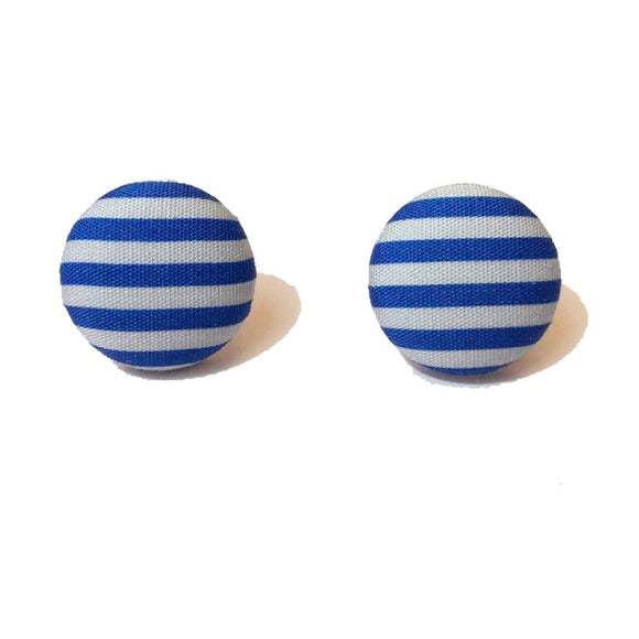 Ravenclaw Stripes Harry Potter Inspired Fabric Button Earring