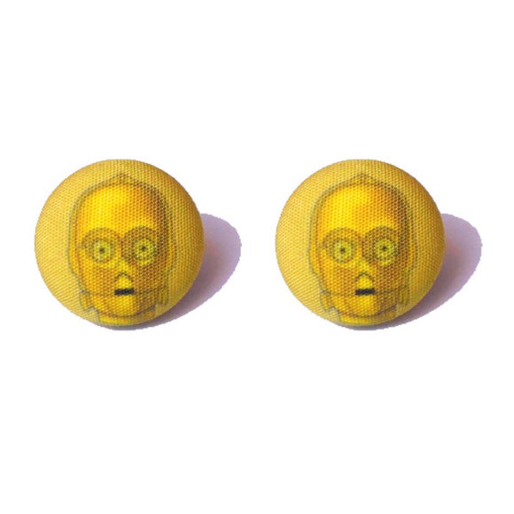 C3P0 Star Wars Fabric Button Earrings