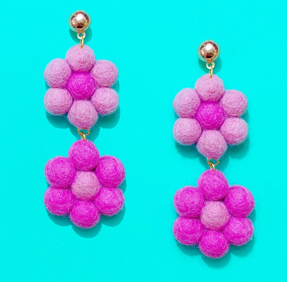 Raspberry Double Flower Wool Felt Drop Earrings