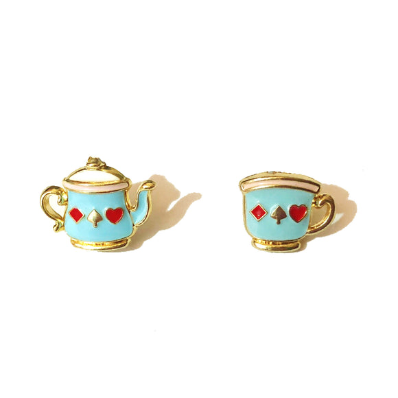 Blue Tea Party Alice in Wonderland Enamel Post Earrings