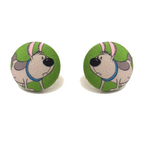 Little Brother Dog Mulan Fabric Button Earrings