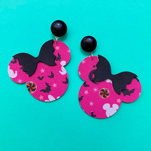 Purple Spoopy Print Minnie Mouse Drop Earrings With Spooky Bow