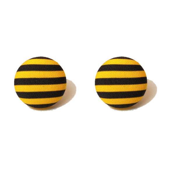 Hufflepuff Stripes Harry Potter Inspired Fabric Button Earring
