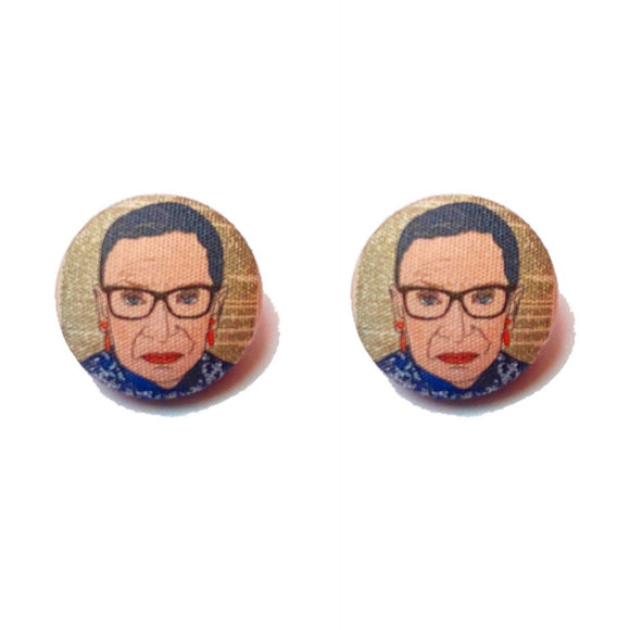 Ruth Bader Ginsburg Inspired Fabric Button Earrings