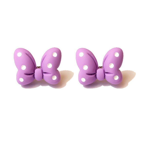 Pastel Lavender Polka Dot Minnie Mouse Bow Post Earrings