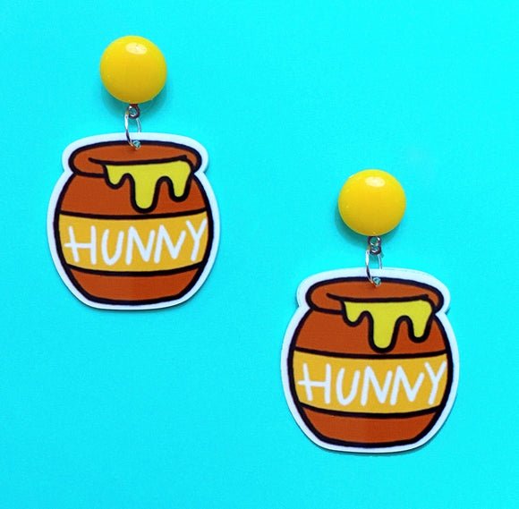 Hunny Pot Winnie The Pooh Acrylic Drop Earrings