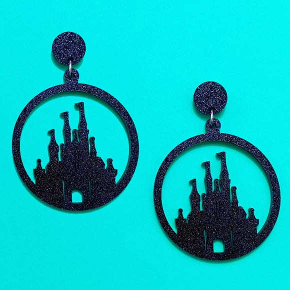 Black Glitter Round Castle Silhouette Acrylic Drop Earrings