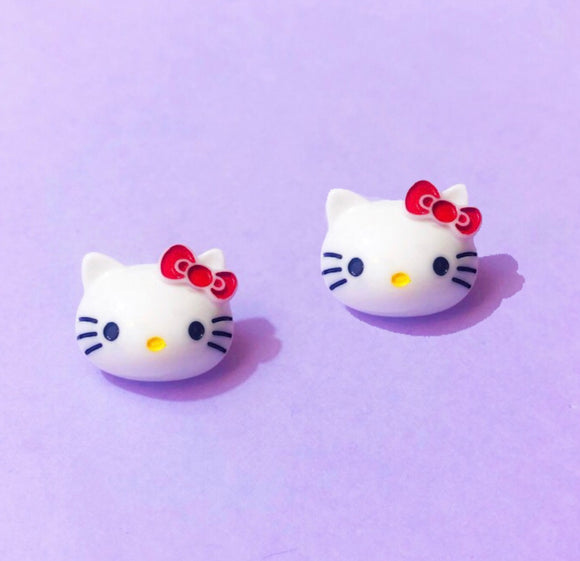 Small Red Bow Hello Kitty Post Earrings