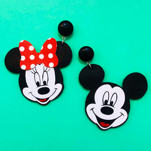 Minnie & Mickey Mouse Vinyl Drop Earring Set
