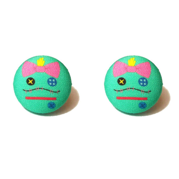Scrump Minimalist Lilo & Stitch Fabric Button Earrings