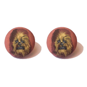 Chewbacca Star Wars Fabric Button Earrings