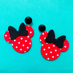 Red Polka Dot & Black Bow Minnie Mouse Drop Earrings