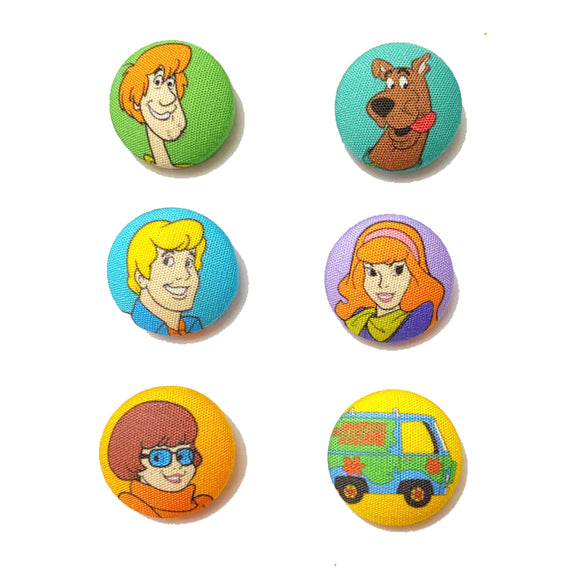 Scooby Doo Inspired Mix-and-Match Fabric Button Earrings