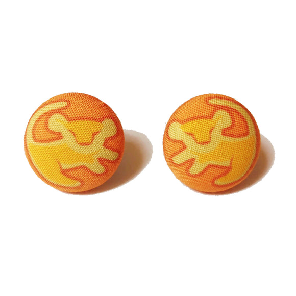 Baby Simba Symbol Lion King Fabric Button Earrings