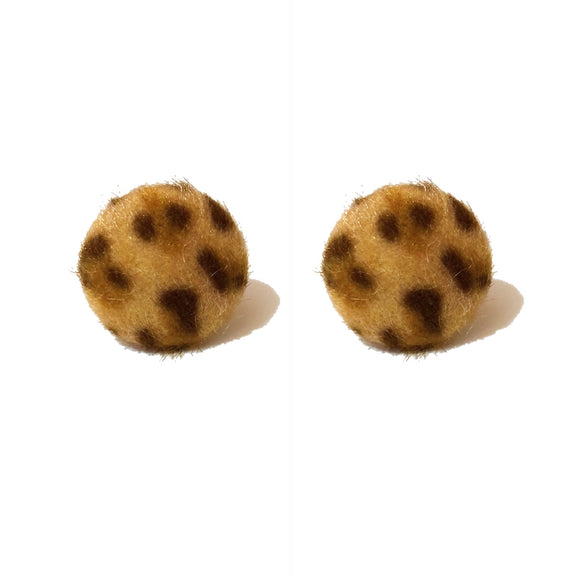 Large Leopard Print Fuzzy Round Post Earrings