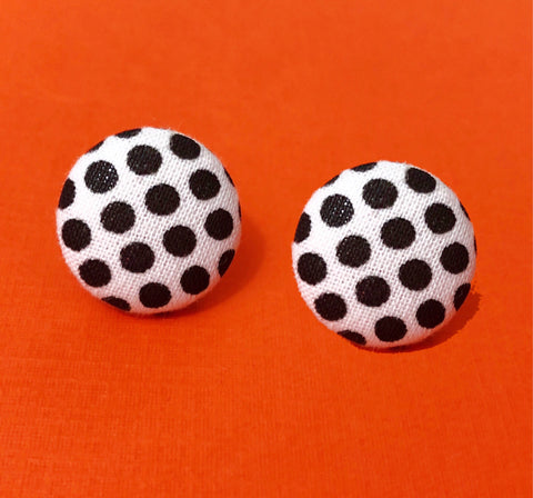 Black & White Polka Dot Fabric Button Earrings