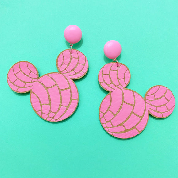 Pink Pan Dulce Concha Mouse Drop Earrings