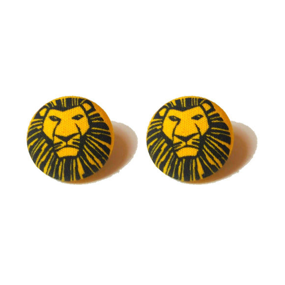 Lion King Musical Yellow Fabric Button Earrings