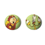 Cogsworth & Lumiere Fabric Button Earrings