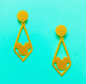 Gold Glitter Geometric Rhombus Mouse Silhouette Drop Earrings