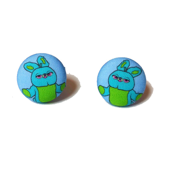 Bunny Toy Story Inspired Fabric Button Earrings
