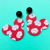 Lilo Red & White Dress Print Mouse Drop Earrings
