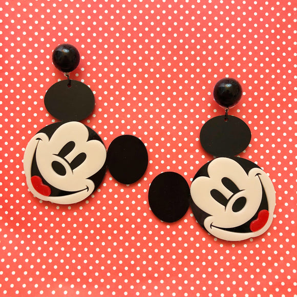Classic Mouse Large Acrylic Drop Earrings