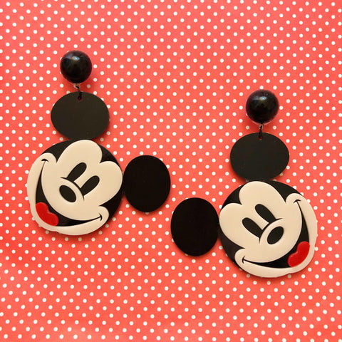 Mickey Mouse Head Large Acrylic Drop Earrings