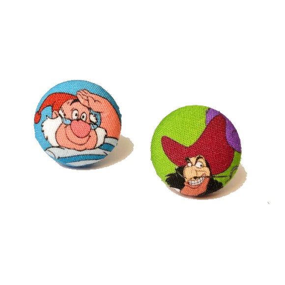 Captain Hook & Smee Peter Pan Villains Fabric Button Earrings