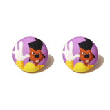 Powerline Inspired A Goofy Movie Fabric Button Earrings