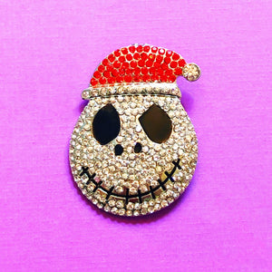 Sparkle Santa Jack Skellington Head Brooch Pin