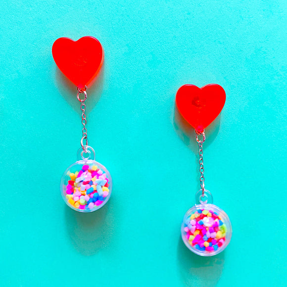 Red Heart & Sprinkles Hanging Drop Earrings