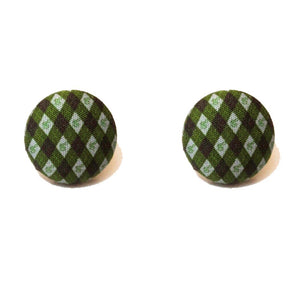 Slytherin Argyle Print Harry Potter Inspired Fabric Button Earring