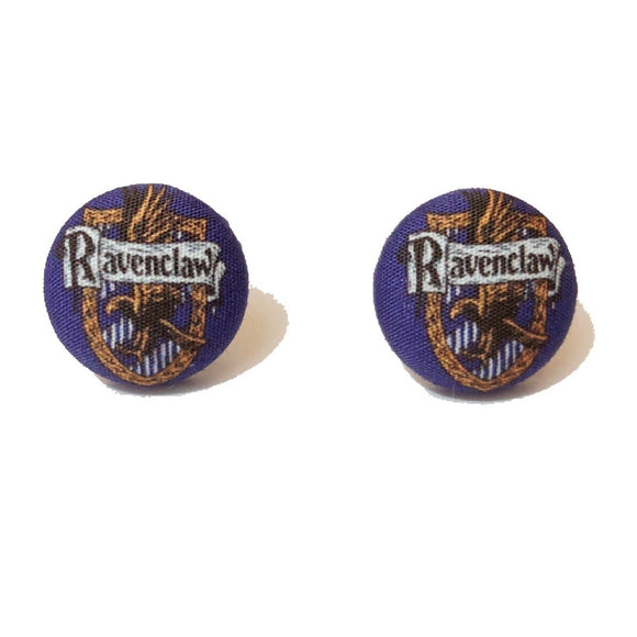 Ravenclaw House Emblem Inspired Fabric Button Earring