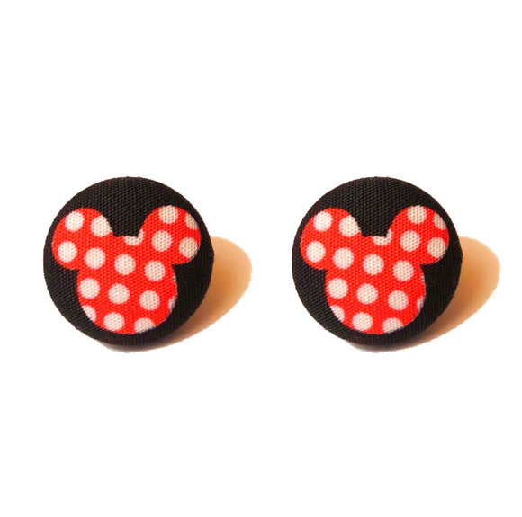 Red & Black Polka Dot Mouse Fabric Button Earrings