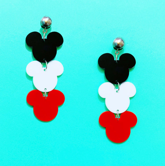 Black, White & Red Triple Mouse Drop Earrings
