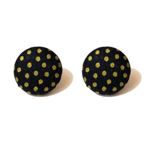 Black & Gold Polka Dot Fabric Button Earrings