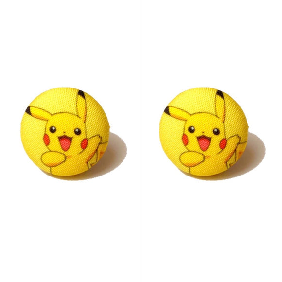 Pikachu Pokemon Inspired Fabric Button Earrings