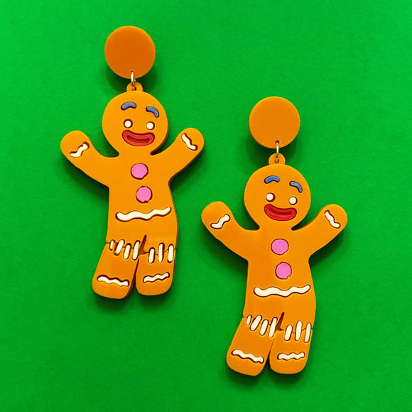"""Gingy"" Gingerbread Man Shrek Inspired Acrylic Drop Earrings"