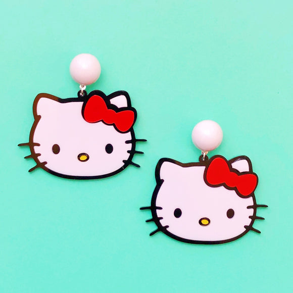 Hello Kitty Red Bow Acrylic Drop Earrings
