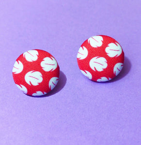 Lilo & Stitch Red & White Dress Print Fabric Button Earrings