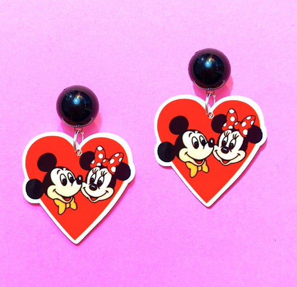 Vintage Minnie & Mickey Red Valentine Heart Acrylic Drop Earrings