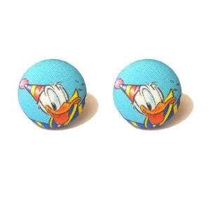 Birthday Donald Duck Fabric Button Earrings