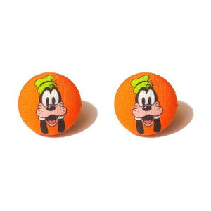 Goofy Fabric Button Earrings